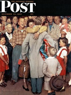 """""""Christmas Homecoming"""" Saturday Evening Post Cover, December 25,1948 by Norman Rockwell"""