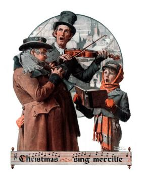 """Christmas Trio"" or ""Sing Merrille"", December 8,1923 by Norman Rockwell"