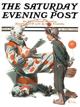 """Circus"" or ""Meeting the Clown"" Saturday Evening Post Cover, May 18,1918 by Norman Rockwell"