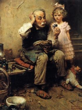 Cobbler Studying Doll's Shoe by Norman Rockwell