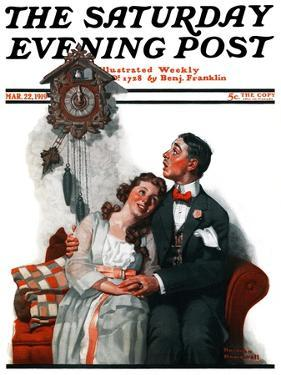 """""""Courting under the Clock at Midnight"""" Saturday Evening Post Cover, March 22,1919 by Norman Rockwell"""