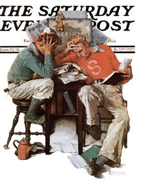 """Cramming"" Saturday Evening Post Cover, June 13,1931 by Norman Rockwell"