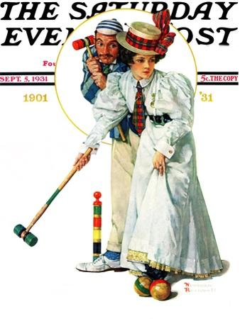 """Croquet"" or ""Wicket Thoughts"" Saturday Evening Post Cover, September 5,1931 by Norman Rockwell"