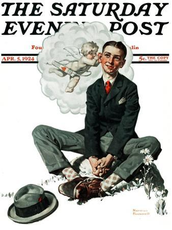 """""""Cupid's Visit"""" Saturday Evening Post Cover, April 5,1924 by Norman Rockwell"""