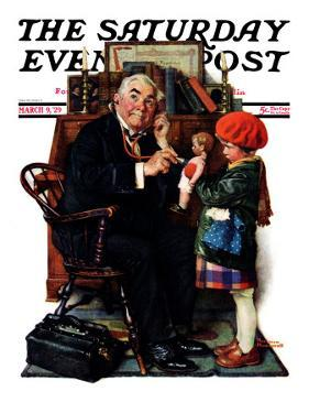 """Doctor and the Doll"" Saturday Evening Post Cover, March 9,1929 by Norman Rockwell"