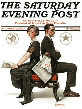 """""""Election Debate"""" Saturday Evening Post Cover, October 9,1920 by Norman Rockwell"""