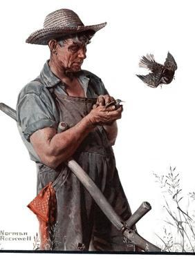"""""""Farmer and the Bird"""" or """"Harvest Time"""", August 18,1923 by Norman Rockwell"""