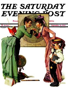 """""""First Day of School"""" or """"Back to School"""" Saturday Evening Post Cover, September 14,1935 by Norman Rockwell"""