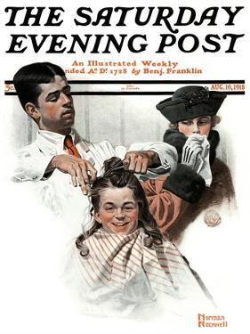 """First Haircut"" Saturday Evening Post Cover, August 10,1918 by Norman Rockwell"