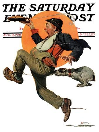 """""""Fleeing Hobo"""" Saturday Evening Post Cover, August 18,1928 by Norman Rockwell"""