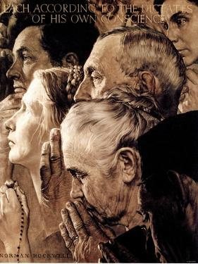 """Freedom of Worship"", February 27,1943 by Norman Rockwell"