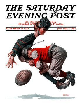 """Fumble"" or ""Tackled"" Saturday Evening Post Cover, November 21,1925 by Norman Rockwell"