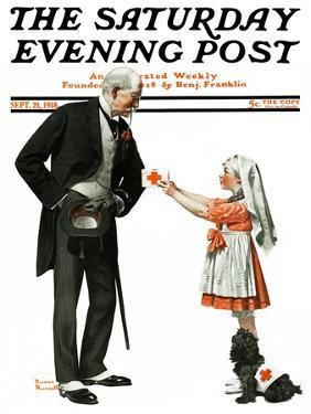 """""""Giving to Red Cross"""" Saturday Evening Post Cover, September 21,1918 by Norman Rockwell"""
