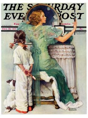 """Going Out"" Saturday Evening Post Cover, October 21,1933 by Norman Rockwell"