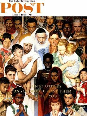 """Golden Rule"" (Do unto others) Saturday Evening Post Cover, April 1,1961 by Norman Rockwell"