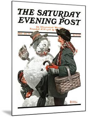 """Gramps and the Snowman"" Saturday Evening Post Cover, December 20,1919 by Norman Rockwell"