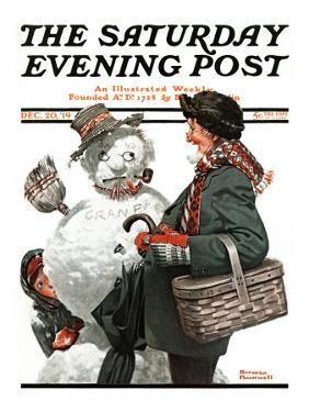 """""""Gramps and the Snowman"""" Saturday Evening Post Cover, December 20,1919 by Norman Rockwell"""
