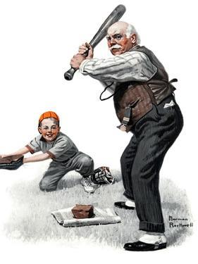"""Gramps at the Plate"", August 5,1916 by Norman Rockwell"