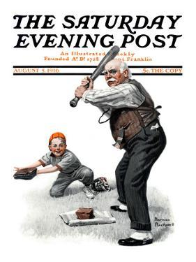 """Gramps at the Plate"" Saturday Evening Post Cover, August 5,1916 by Norman Rockwell"