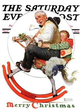 """""""Gramps on Rocking Horse"""" Saturday Evening Post Cover, December 16,1933 by Norman Rockwell"""