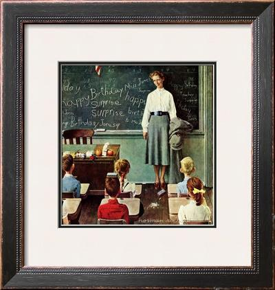 """""""Happy Birthday, Miss Jones"""" Saturday Evening Post Cover, March 17,1956 by Norman Rockwell"""