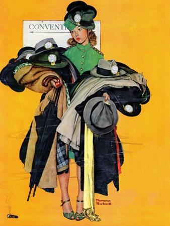 """""""Hatcheck Girl"""", May 3,1941 by Norman Rockwell"""