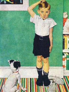 He's Going to Be Taller Than Dad (or Boy Measuring Himself on Wall) by Norman Rockwell