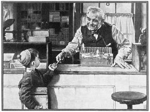 His First Pencil (or Boy and Shopkeeper) by Norman Rockwell