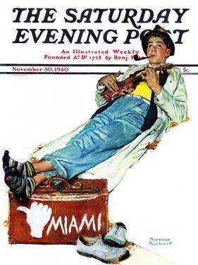 """""""Hitchhiker to Miami"""" Saturday Evening Post Cover, November 30,1940 by Norman Rockwell"""