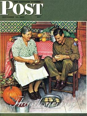 """""""Home for Thanksgiving"""" Saturday Evening Post Cover, November 24,1945 by Norman Rockwell"""