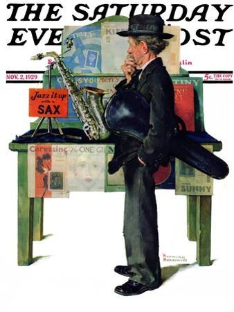 """Jazz It Up"" or ""Saxophone"" Saturday Evening Post Cover, November 2,1929 by Norman Rockwell"