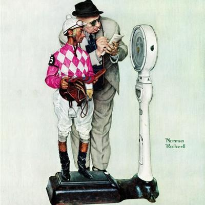"""""""Jockey Weighing In"""", June 28,1958 by Norman Rockwell"""
