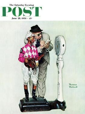 """Jockey Weighing In"" Saturday Evening Post Cover, June 28,1958 by Norman Rockwell"