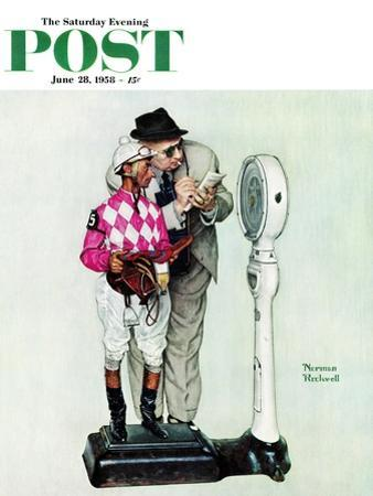 """""""Jockey Weighing In"""" Saturday Evening Post Cover, June 28,1958 by Norman Rockwell"""