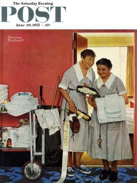 """Just Married"" (hotel maids and confetti) Saturday Evening Post Cover, June 29,1957 by Norman Rockwell"