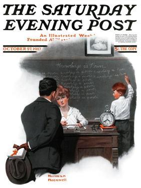 """Knowledge is Power"" Saturday Evening Post Cover, October 27,1917 by Norman Rockwell"
