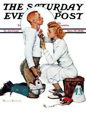 """""""Letter Sweater"""" (boy & girl) Saturday Evening Post Cover, November 19,1938 by Norman Rockwell"""