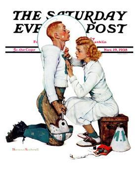 """Letter Sweater"" (boy & girl) Saturday Evening Post Cover, November 19,1938 by Norman Rockwell"