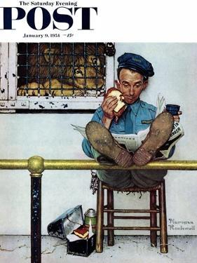 """""""Lion and His Keeper"""" Saturday Evening Post Cover, January 9,1954 by Norman Rockwell"""
