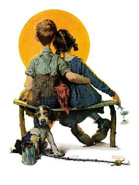 """Little Spooners"" or ""Sunset"", April 24,1926 by Norman Rockwell"