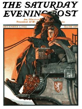 """London Coach"" Saturday Evening Post Cover, December 5,1925 by Norman Rockwell"