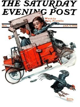 """Look Out Below"" or ""Downhill Daring"" Saturday Evening Post Cover, January 9,1926 by Norman Rockwell"
