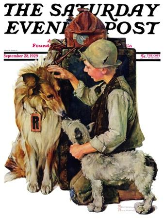 """""""Making Friends"""" or """"Raleigh Rockwell"""" Saturday Evening Post Cover, September 28,1929 by Norman Rockwell"""