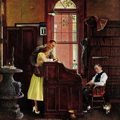 """""""Marriage License"""", June 11,1955 by Norman Rockwell"""