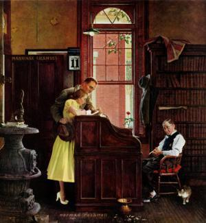 """""""Marriage License"""" Saturday Evening Post Cover, June 11,1955 by Norman Rockwell"""