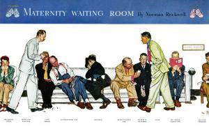 """Maternity Waiting Room"", July 13,1946 by Norman Rockwell"