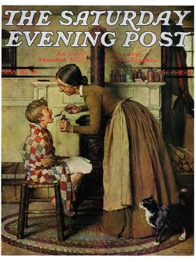 """Medicine Giver"" ""Take Your Medicine"" Saturday Evening Post Cover, May 30,1936 by Norman Rockwell"
