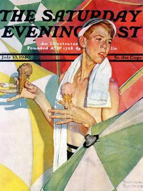 """Melting Ice Cream"" or ""Joys of Summer"" Saturday Evening Post Cover, July 13,1940 by Norman Rockwell"