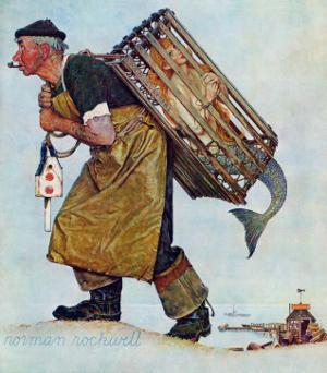 """""""Mermaid"""" or """"Lobsterman"""", August 20,1955 by Norman Rockwell"""