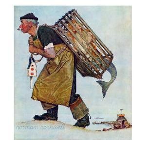 """Mermaid"" or ""Lobsterman"", August 20,1955 by Norman Rockwell"